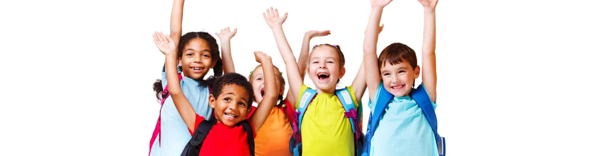 happy kids raising their hands